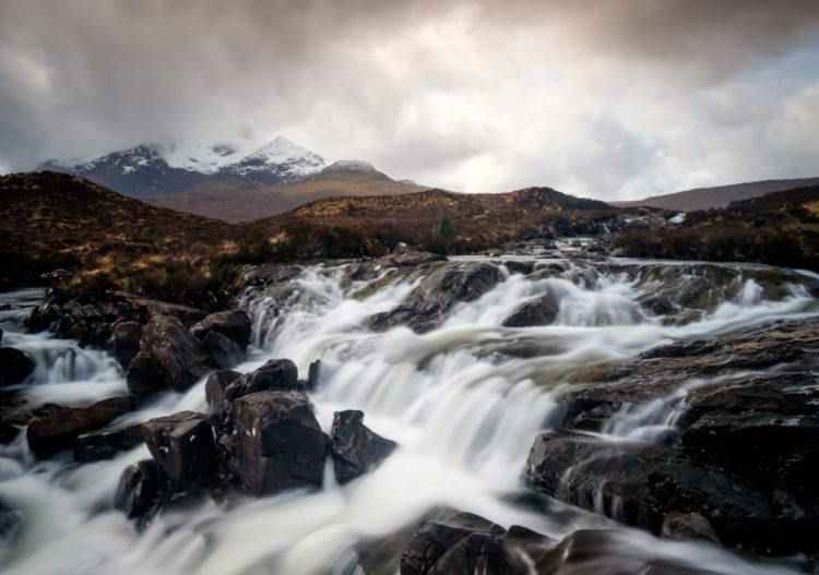 SCOTLAND - CIRCA APRIL 2016: The Sligachan Waterfalls in Skye an Island in Scotland