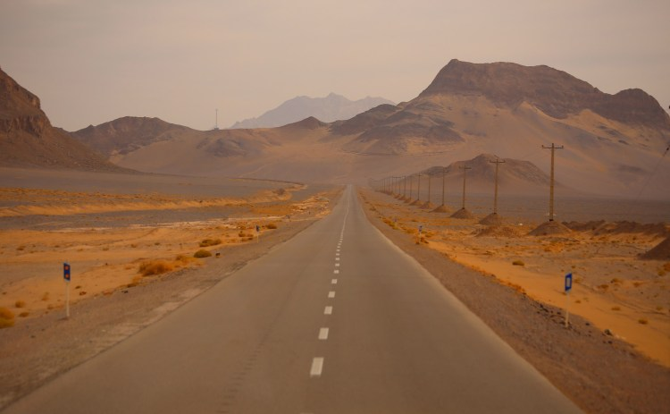 The desert road, Yazd province, Iran