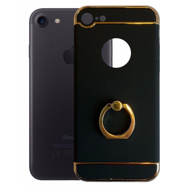 Apple hoesjes Fit Fashion – Hardcase Hoesje –  Met ring – Geschikt voor iPhone 7 – Zwart
