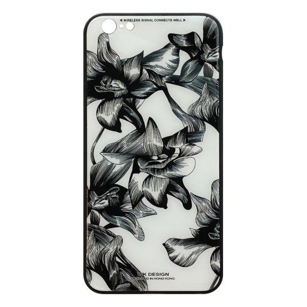 Apple hoesjes WK Design – Azure Stone Series – Hardcase hoesje voor iPhone 6 Plus / 6S Plus – Witte bloem – Zwart