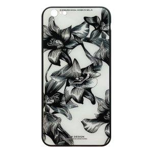 Apple hoesjes WK Design – Azure Stone Series – Hardcase – Voor iPhone 6 Plus / 6S Plus – Witte bloem – Zwart