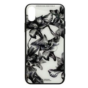 Apple hoesjes WK Design – Azure Stone Series – Hardcase – Voor iPhone X / XS – Witte bloem – Zwart