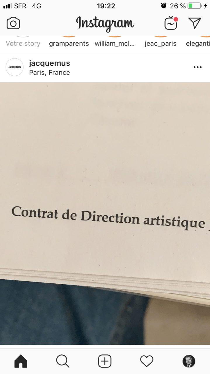 jacquemus paris contrat de direction artistique