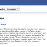 A Facebook message sent to Jose Barraza regarding unsolicited phone calls.