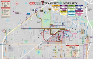 The current bus route map. Photo courtesy of Parking Services.
