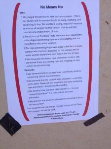 "A flier taped to a wall on campus next to a bed sheet spray painted with ""no means no."" Photo posted on Twitter by user @the_bone_lady."