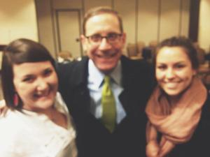 Me and Abbie in our treasured picture with Texas Tribune Editor-in-Chief Evan Smith.