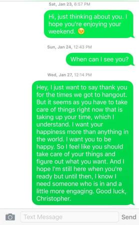 The text messages Lily Tran sent to the man who ghosted her.