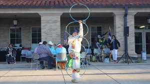 A Native American performs a traditional dance at the Student Union Building. Elizabeth Hale/The Hub@TTU