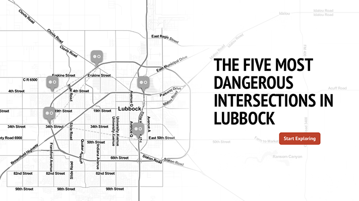 A report by the City of Lubbock Traffic Engineering Department ranked these intersections as the most dangerous by crash rate for the year 2014