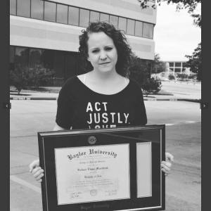 Mundhenk with her degree from Baylor University. Picture from Mundhenk's Facebook.