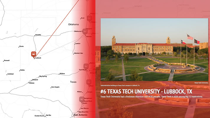 Click on this image to see a StoryMap comparing retention rates at Big 12 schools.