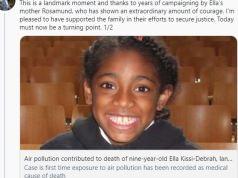 bambina morta inquinamento