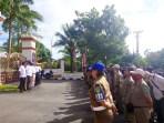Kasatpol PP Kota Tual Ibrahim Tamher gelar apel ratusan Anggota Satpol PP di Pendopo Yarler
