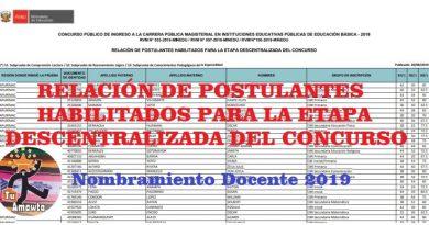 RELACIÓN DE POSTULANTES HABILITADOS PARA LA ETAPA DESCENTRALIZADA DEL CONCURSO NOMBRAMIENTO DOCENTE 2019
