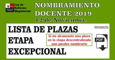 Lista de Plazas ETAPA EXCEPCIONAL – Nombramiento Docente 2019