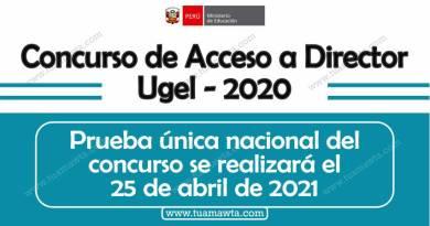 MINEDU: La Prueba Única del Concurso al Cargo de director de UGEL 2020 se realizará en abril de 2021