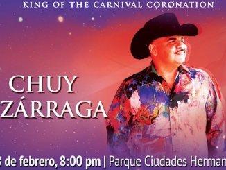 """28 de febrero a las 20:00 horas, Chuy Lizárraga llega para hacer vibrar el Parque Ciudades Hermanas y Coronar al Rey del Carnaval de Mazatlán 2019, """"Equinoccio, el Renacer de los Sentidos"""" 8:00 pm."""