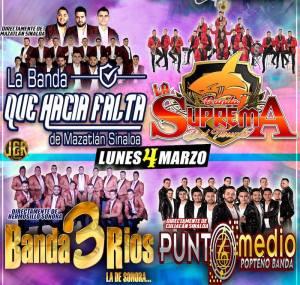 3 de marzo 2019 llegan a Los Lorenzos, Guanajuato, La Banda Que Hacía Falta, y Banda La Suprema del Tiburón, y 4 de marzo 2019 Banda 3 Ríos y Punto Medio Popteño Banda. Eventos Gratuitos.