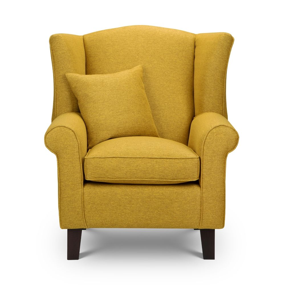 Shetland Mustard Tweed Wingback Chair Sloane Sons