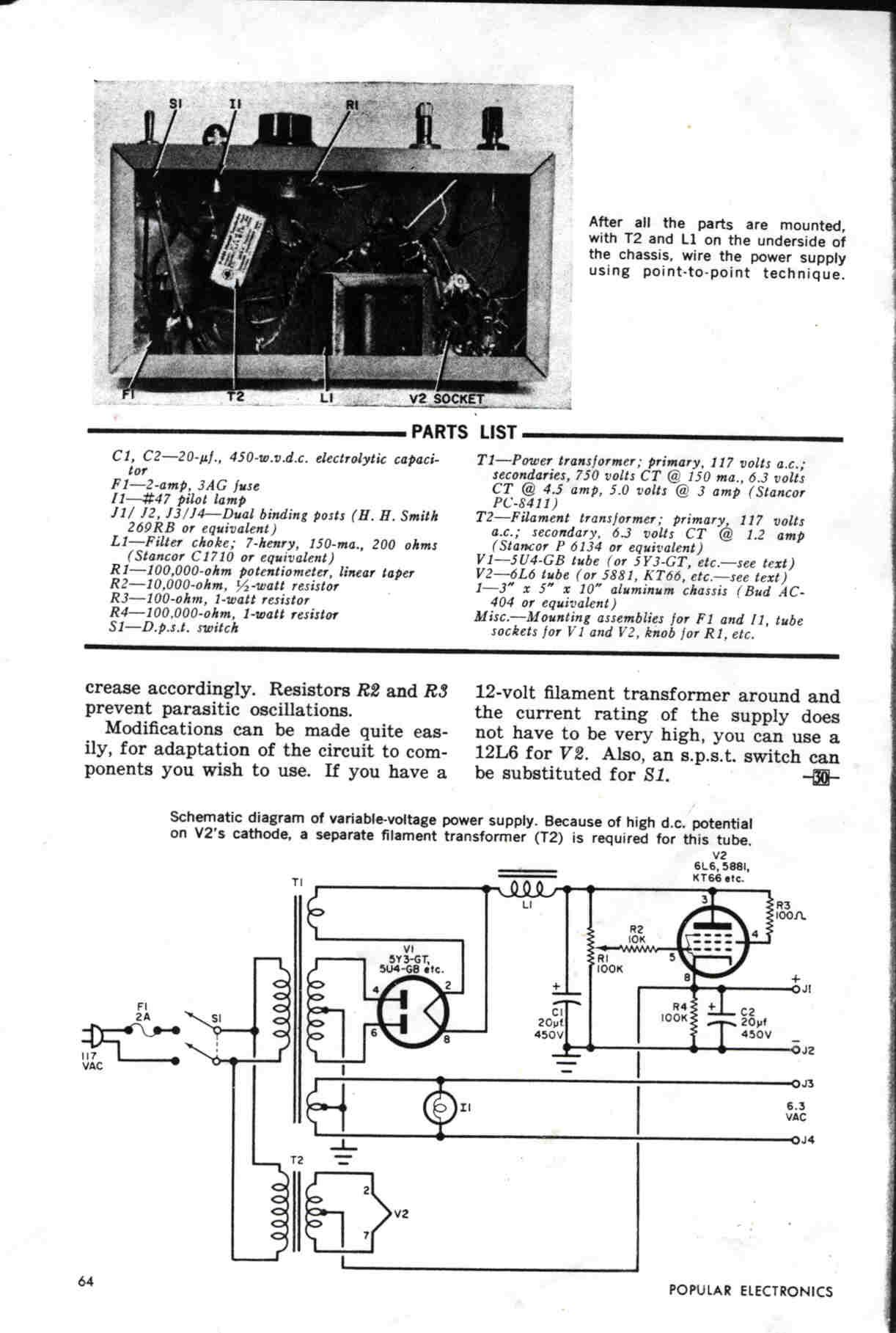 Simple Variable Tube Power Supply