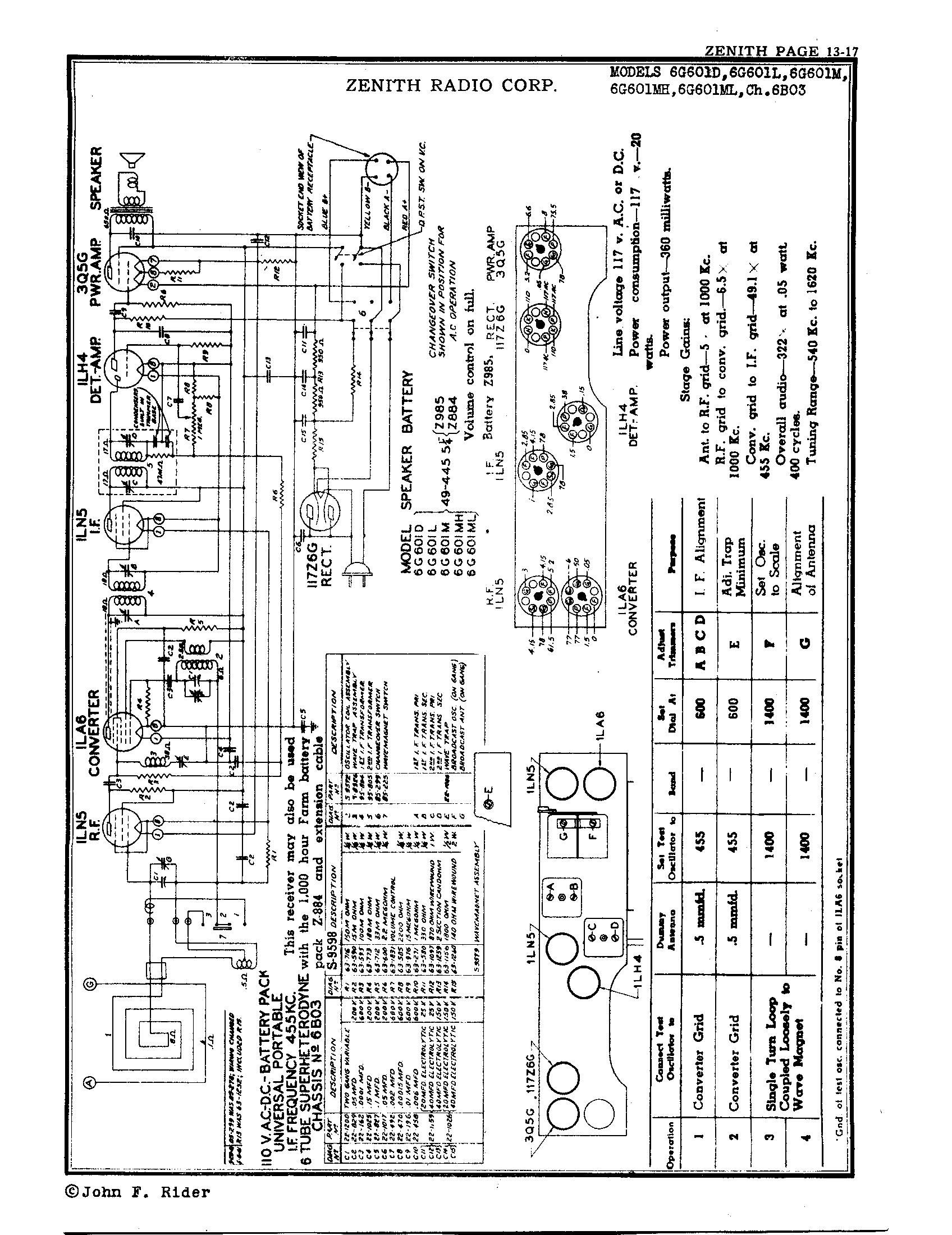 Zenith Radio Corp 6g601m