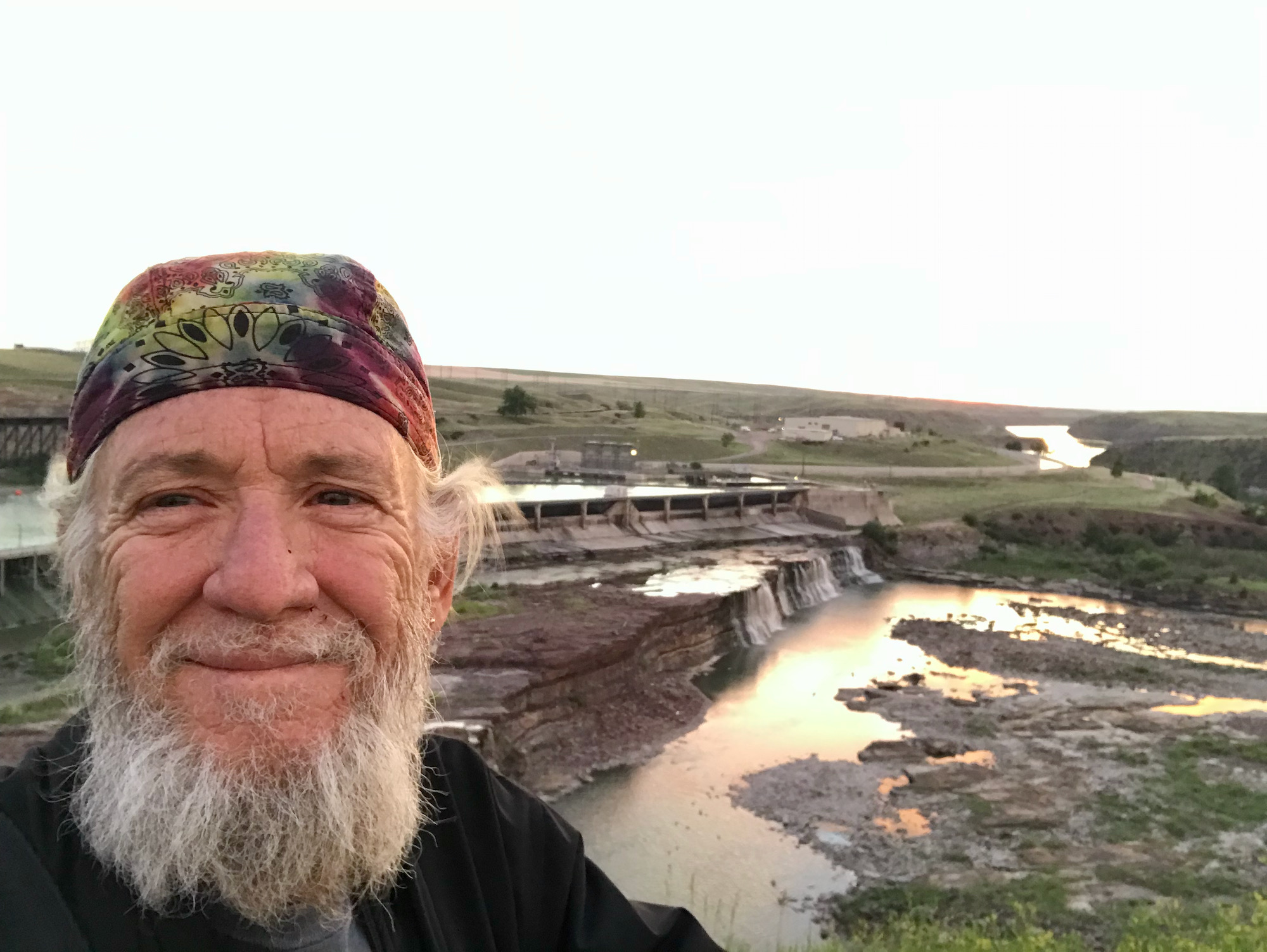 Eddie at Great Falls and the Missouri River at Sunrise