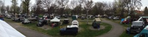 Some of the 160 Land Rovers and over-landers parked-up for the 'Meet'