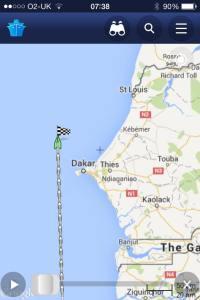 Ship tracker Cuthbert passing Dakar