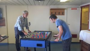 Marcus bravely takes on 'The Meister' at fussball