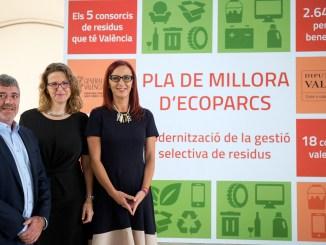 Josep Bort, Elena Cebrián i Maria Josep Va amistar durant la presentació del Pla de Millora d'Ecoparcs.