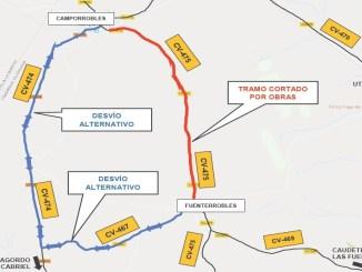 Imagen del corte de la CV-475 y carreteras alternativas.