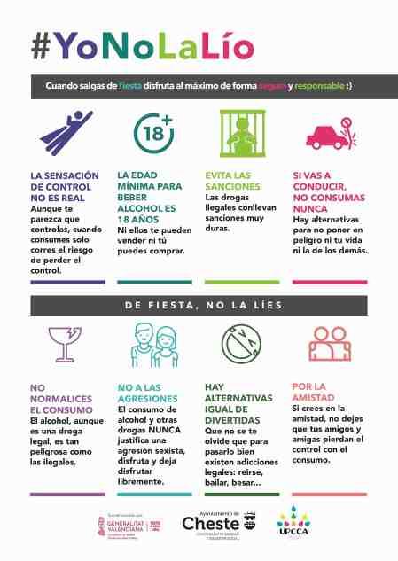 La concejalía de Sanidad y la UPCCA de Cheste lanzan la campaña #YoNoLaLío.
