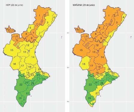 Sanidad activa para este viernes la alerta por calor alto en zonas de 14 comarcas de la Comunitat Valenciana.