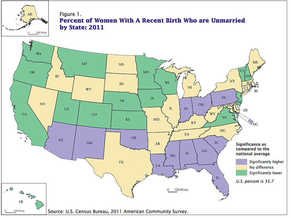 Image result for unwed motherhood by state