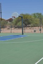There is 1 lighted basketball court at Canada Del Oro Riverfront Park