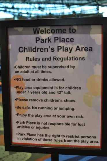 Park Place Children's Play Area sign