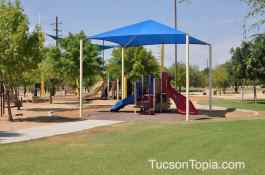 There are two shaded playgrounds at Brandi Fenton Memorial Park