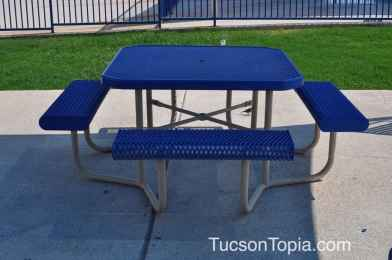 picnic table adjacent to splash pad at Tucson Jewish Community Center