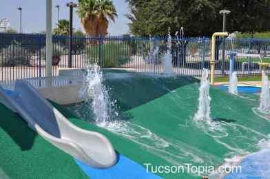 splash pad slide at Tucson Jewish Community Center