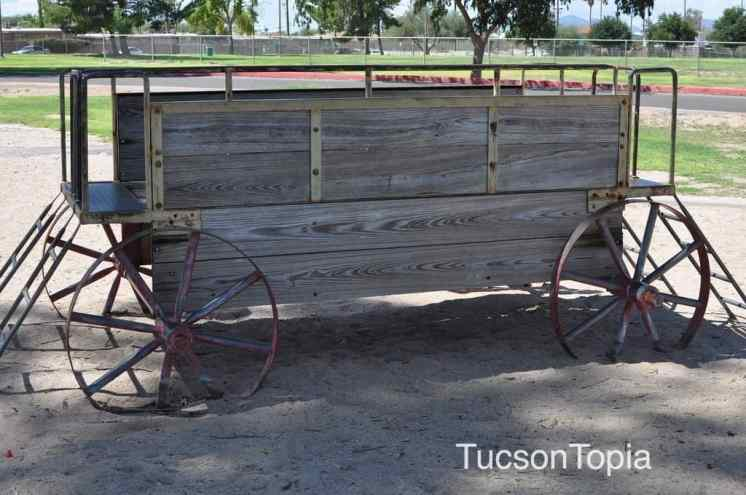 wooden wagon at Fort Lowell Park