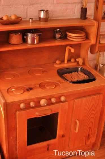 wood play kitchen at Tucson Waldorf School