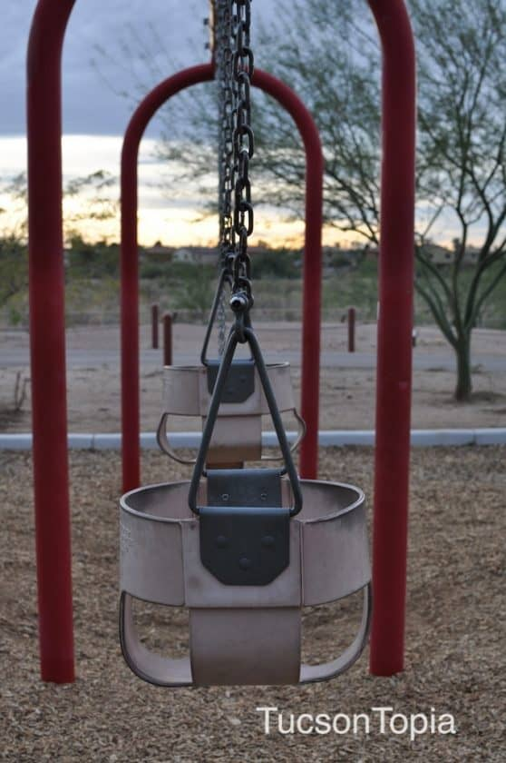 two infant swings and two regular swings at Michael Perry Park