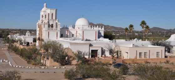 Mission San Xavier del Bac from the hill