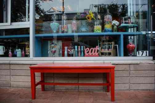 Bench outside HUB Ice Cream Factory