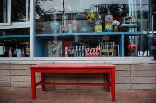 Bench outside HUB Ice Cream Factory