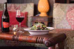 salad and wine at The Living Room