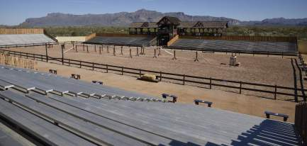bleacher seating for jousting at Arizona Renaissance Festival