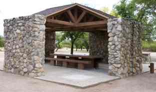 stone ramada Fort Lowell Park