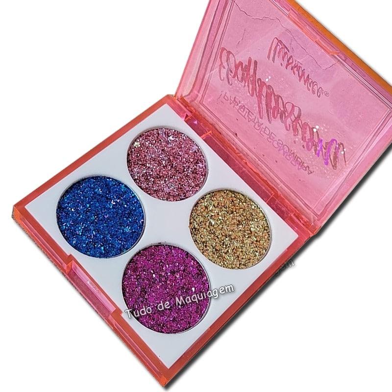 Paleta de Sombra Glitter Explosion Luisance L6060A aberto